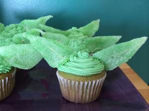 First attempt at Yoda cupcakes. The toothpicks weren't so obvious in them all, but this one was up front and I was lazy,
