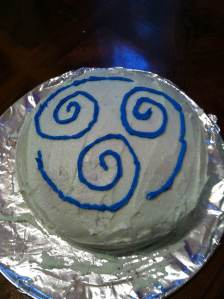 Air nation cake. This was one of my first attempts at baking, about two years ago. I could do a better job of it now, but since I mentioned the importance of Avatar to my relationship's origins, it seemed appropriate. This was the cake I made my husband for his first birthday we celebrated together.